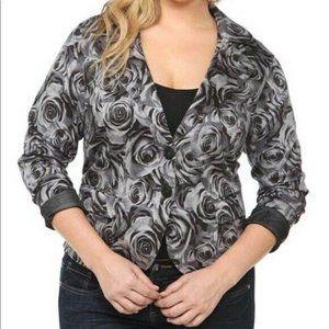 Torrid Black Gray Rose Floral Blazer Jacket